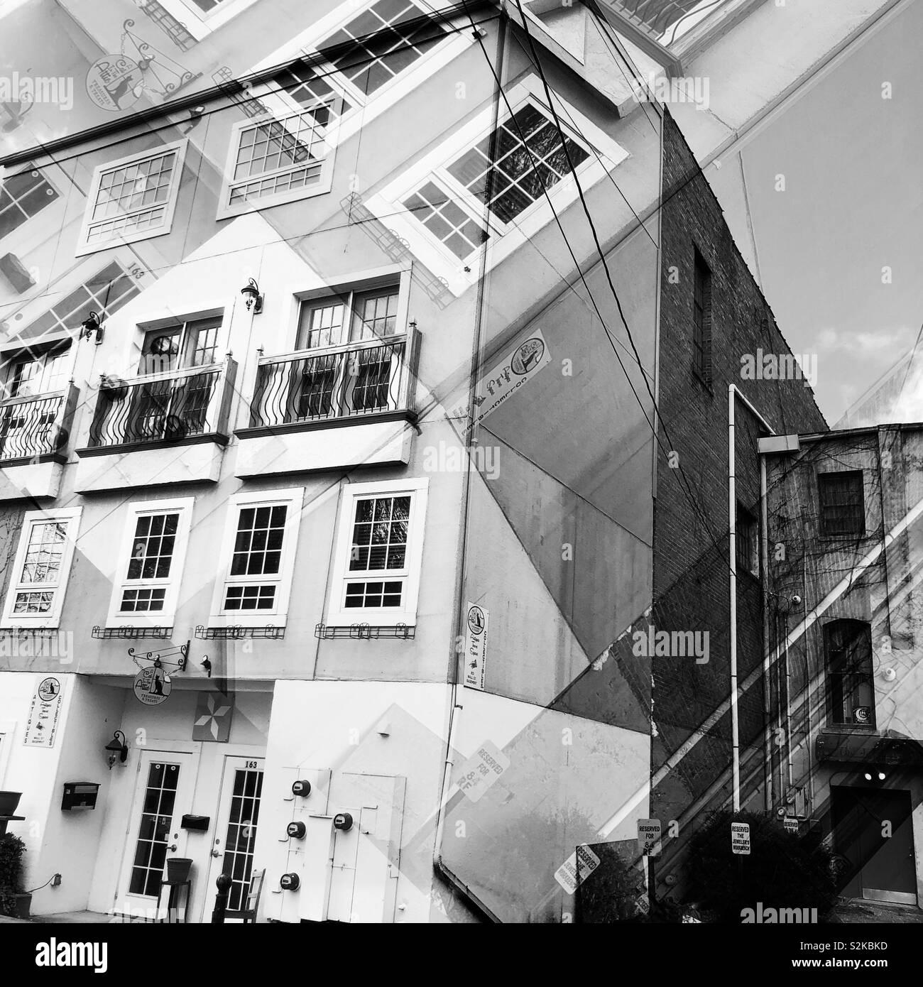 Zurück von einem alten Gebäude Stockfoto