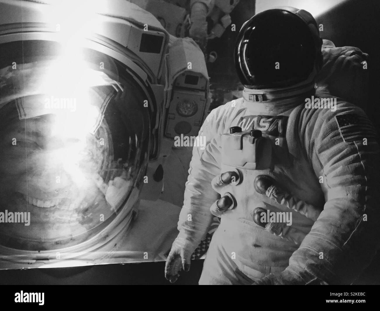 Spaceman astronaut Statue in Space Museum Stockbild