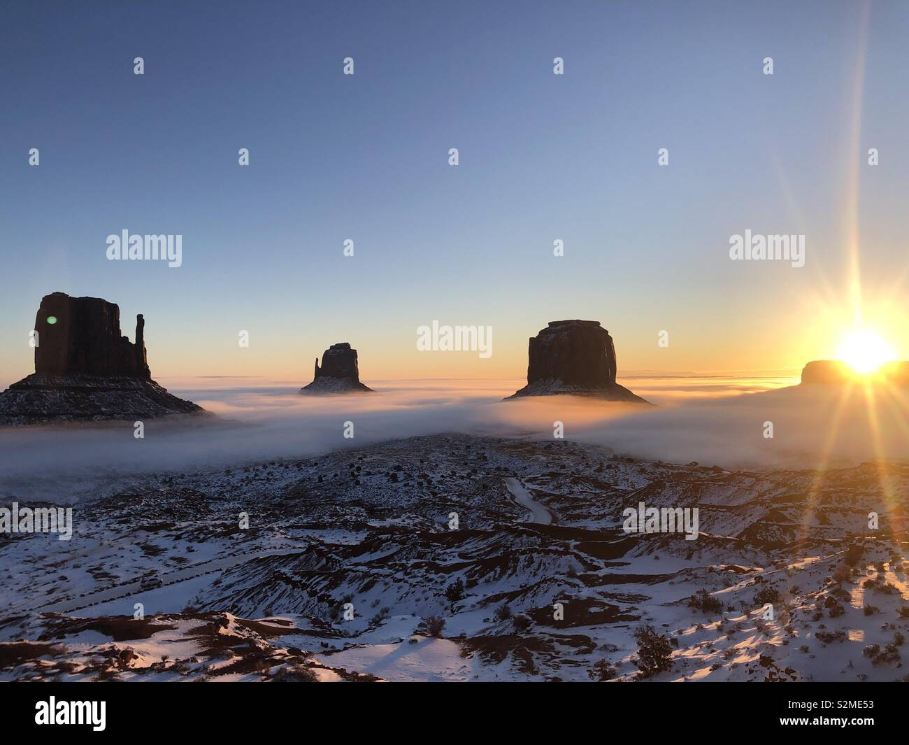 Sunrise Monument Valley in Utah Stockfoto
