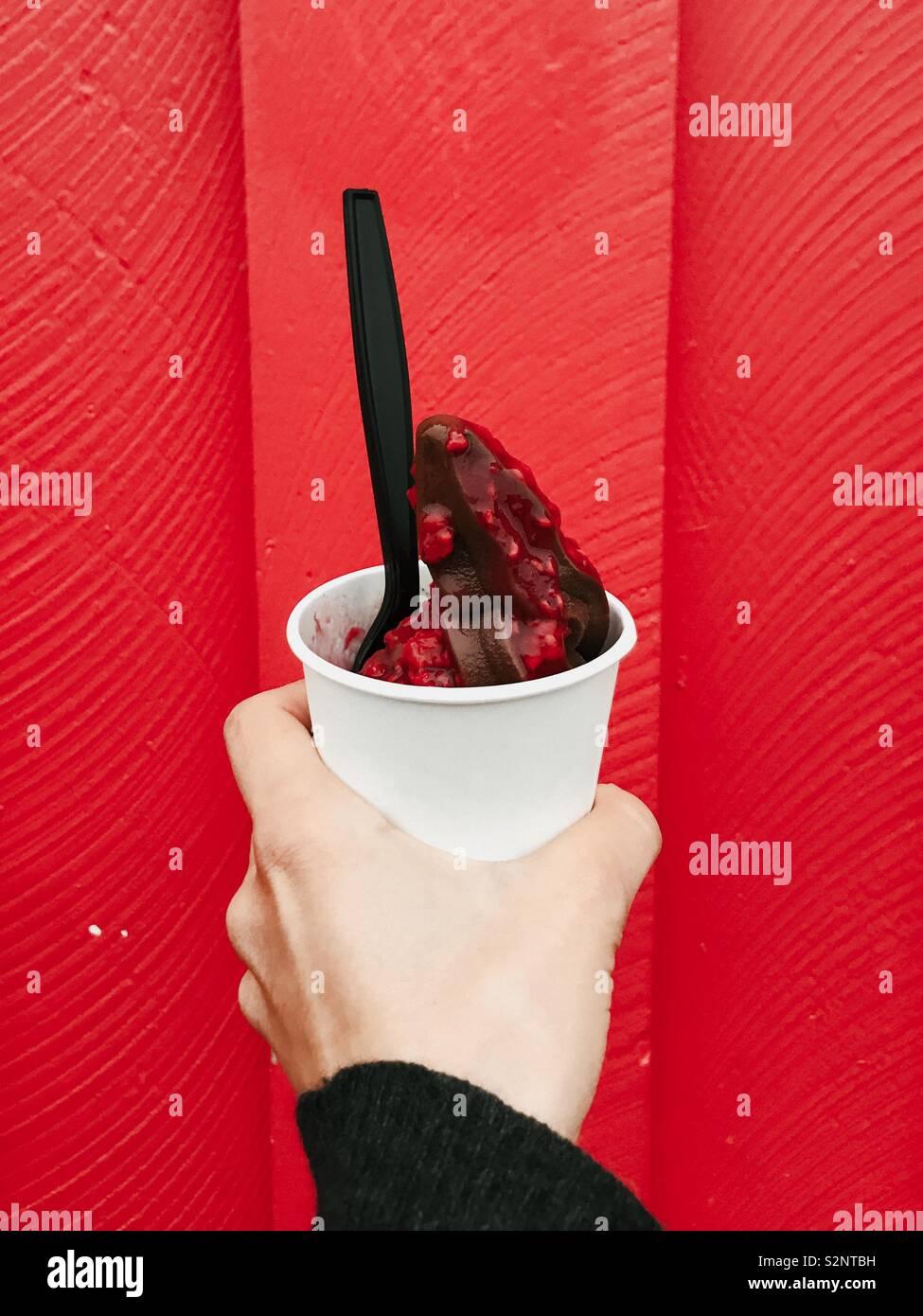 Vegane Schokolade Eis mit Himbeersauce Stockfoto