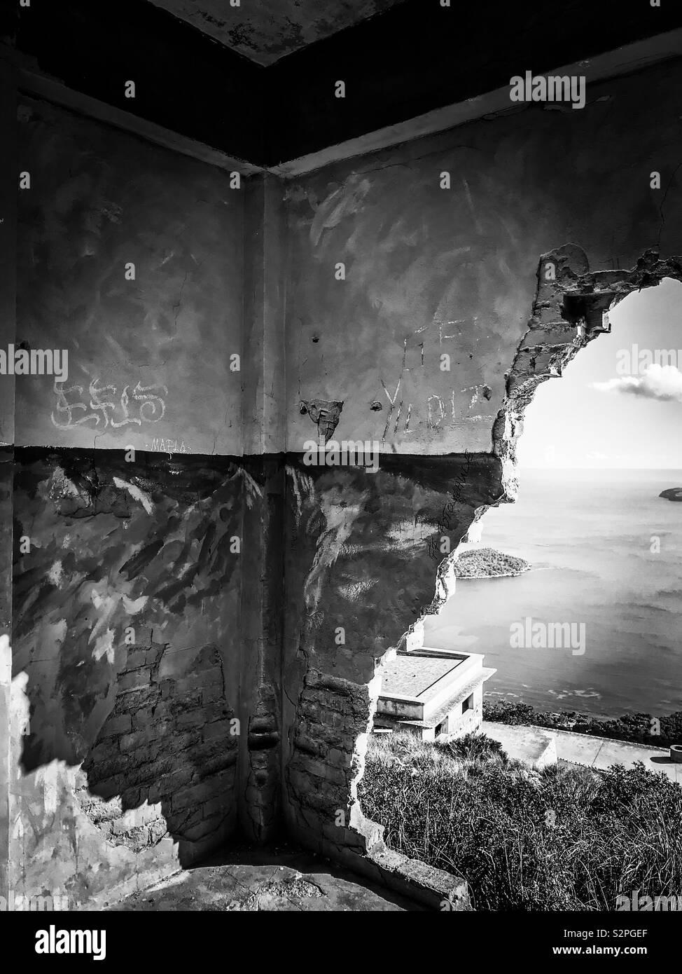 Verlassene Gebäude, Formentor, Mallorca Stockfoto