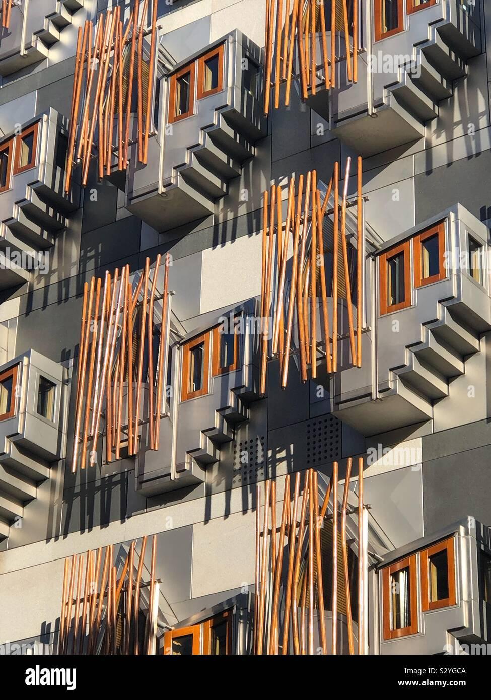Schottische Parlament außen Detail Stockfoto