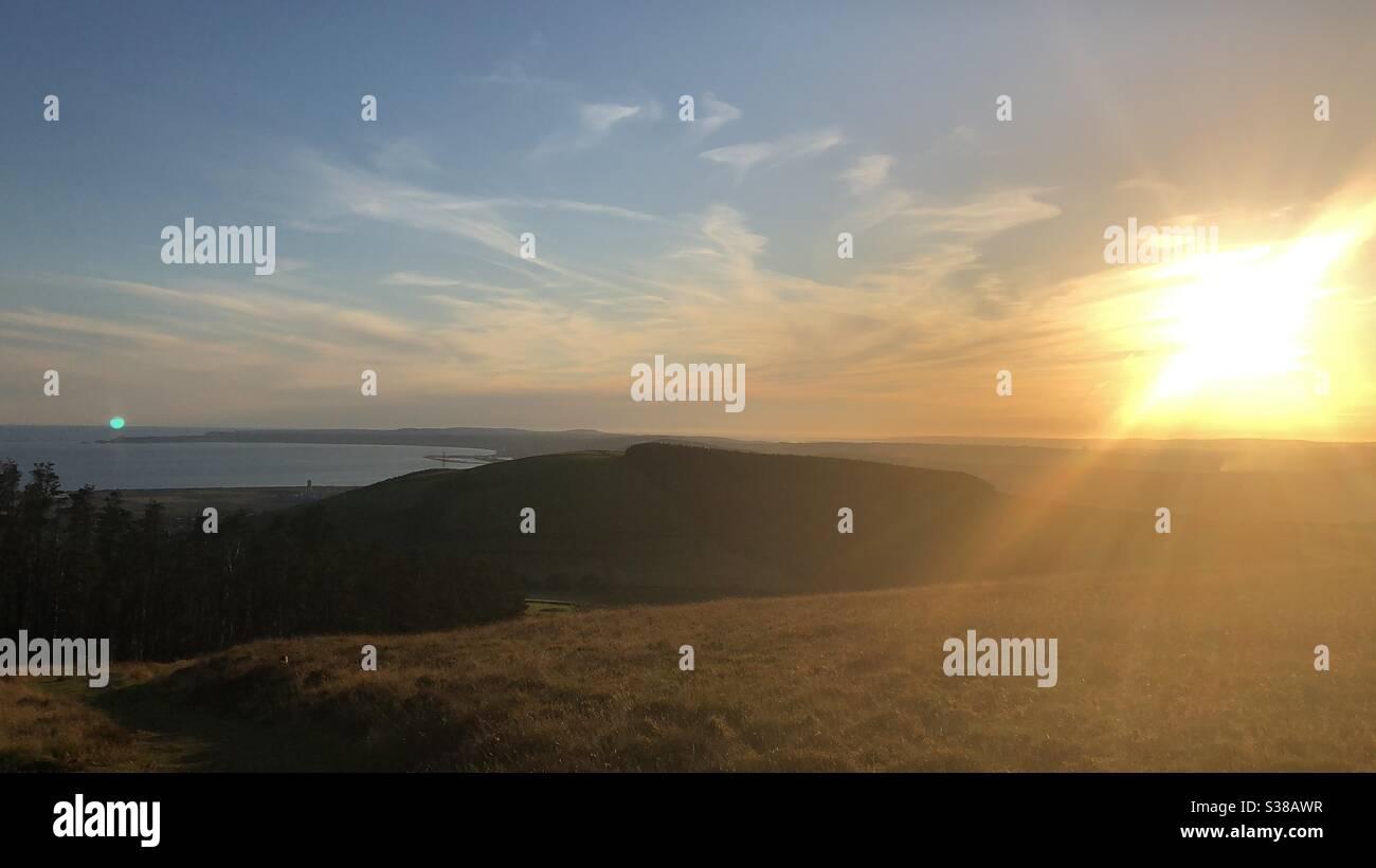 Sonnenuntergang über Port Talbot/Swansea Stockfoto