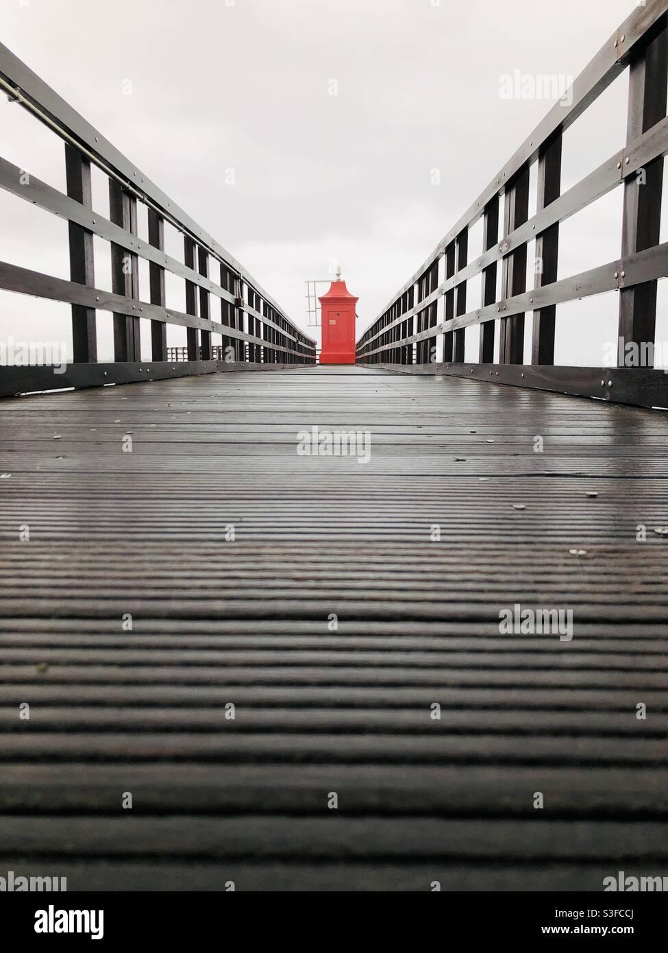 Leuchtturm Faro di Lignano Stockfoto
