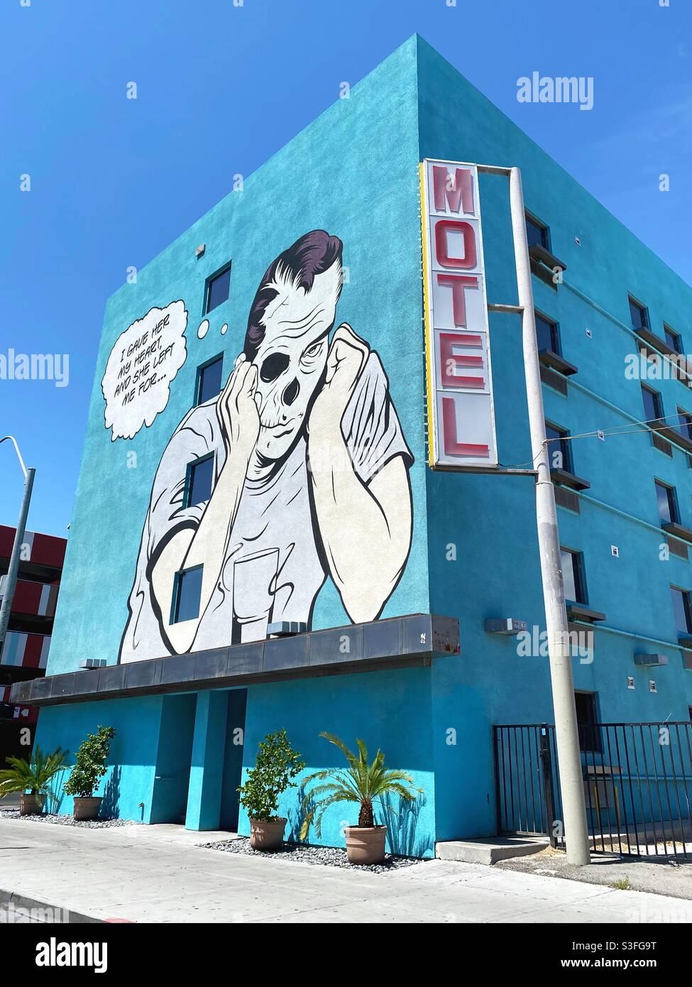 Ein Wandgemälde von D*Face, in der Innenstadt von Las Vegas. Stockfoto