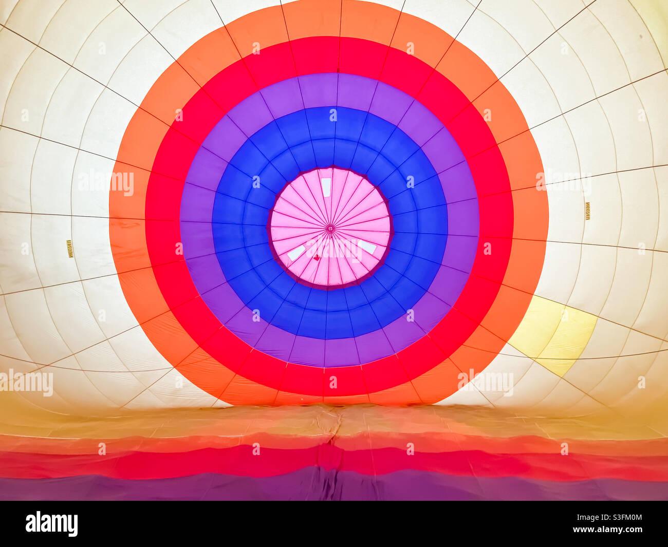 In einem Heißluftballon Stockfoto