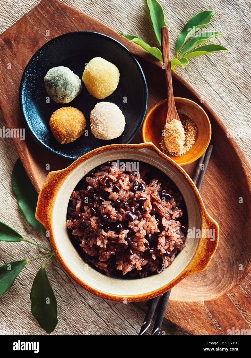 Schwarzer Bohne klebriger Reis von iphone 11 promax Stockfoto