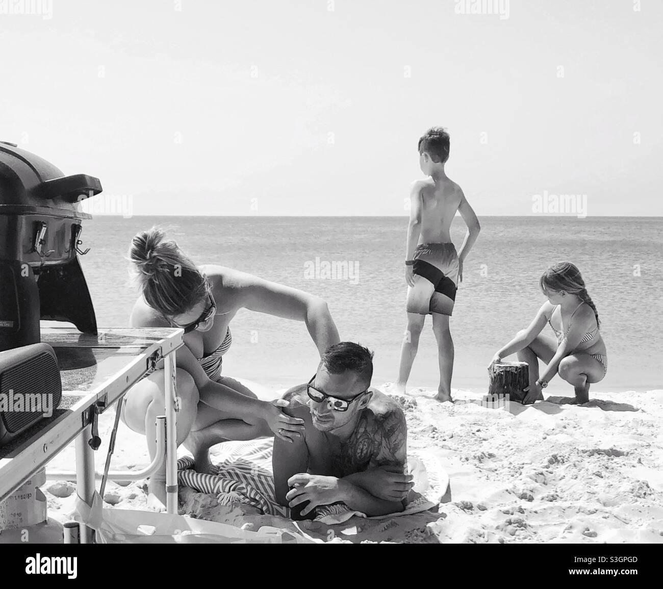 Das Leben ist ein australischer Lebensstil am Strand Stockfoto