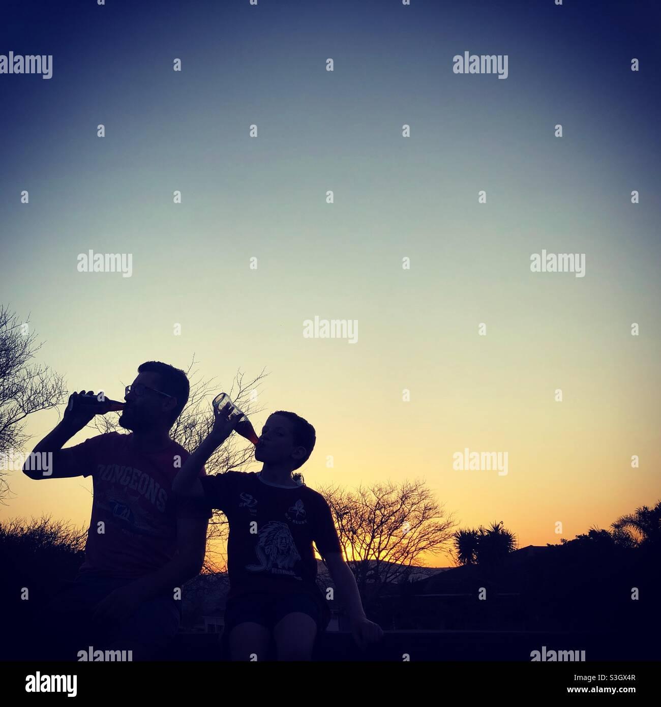 Sonnenuntergang Getränke Stockfoto