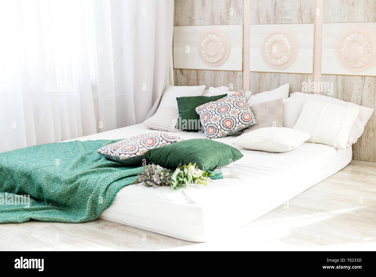 Innenausstattung Schlafzimmer mit einem Bett. Konzept ...