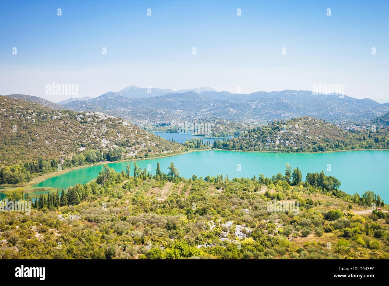 Gränna Seen, Dalmatien, Kroatien, Europa - Überblick über die schöne Gränna Seen Stockfoto
