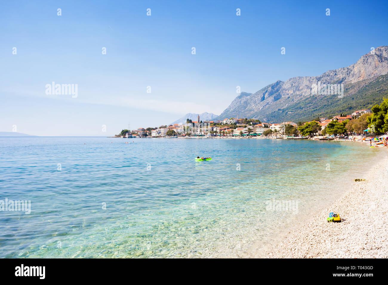Korcula, Dalmatien, Kroatien, Europa - Überblick über die schöne Bucht von Gradac. Stockfoto