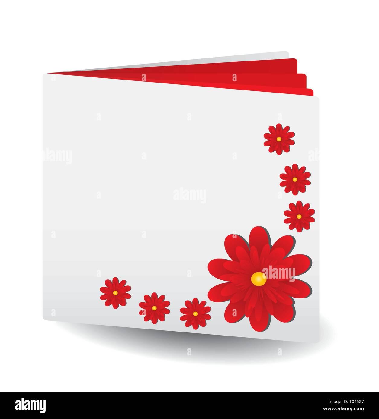 Buch mit roten Seiten und rote Gerbera Blumen am Deckel, Vektor, Abbildung Stockbild