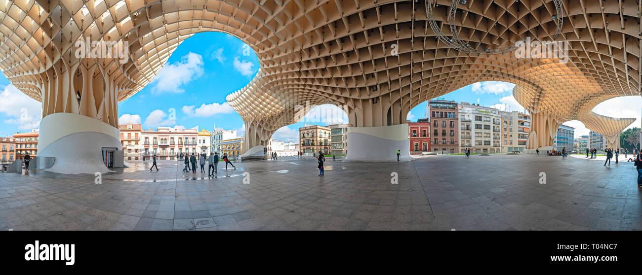 Le Setas de Sevilla stellt die eindrucksvollsten zeitgenössische Architektur arbeiten in der Stadt Stockbild