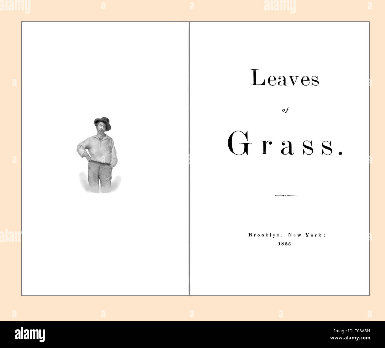 Titelseite und Frontispiz der Blätter von Gras von Walt Whitman gereinigt und neu eingestellt Stockfoto