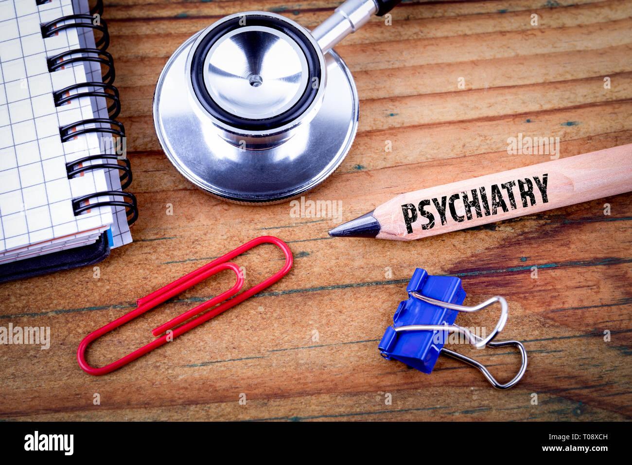 Psychiatrie text auf Bleistift Stockbild