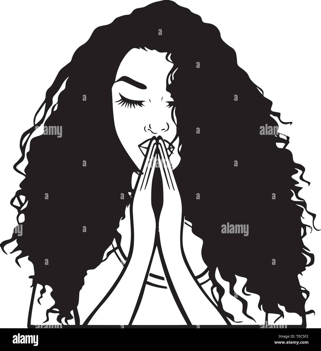 Ballerina Tänzerin athletische Frau Sport schwarz Afro Frau Yoga entspannende Krankenschwester Retro Frau zu beten Gott religiöse Warrior Fighter Edel starke Frauen Stock Vektor