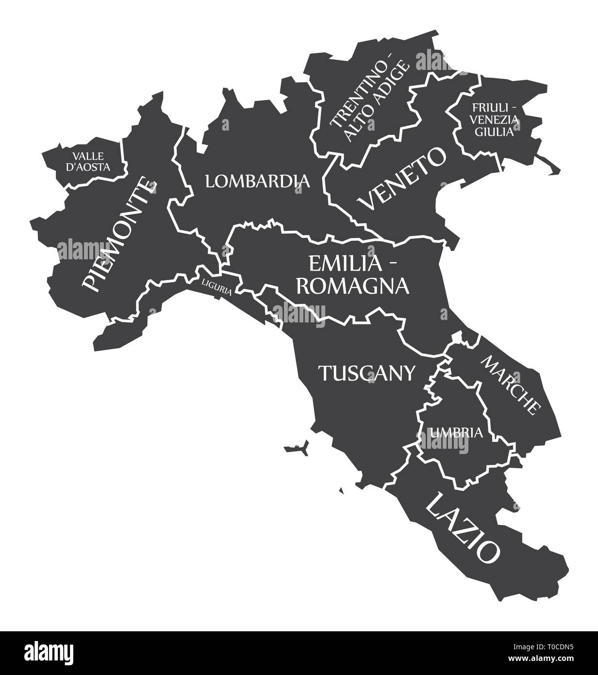 Italien Karte Regionen.In Den Nördlichen Regionen Von Italien Karte Vektor Abbildung Bild