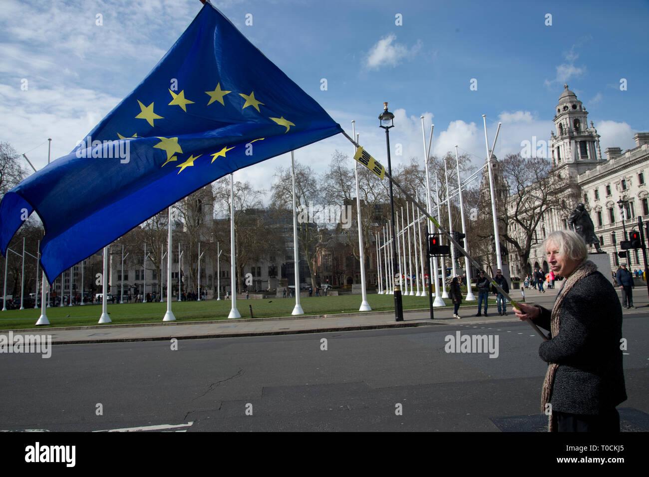 Westminster 18.März 2019. Bleiben Demonstrant außerhalb des Parlaments eine Europäische Flagge.. Stockbild