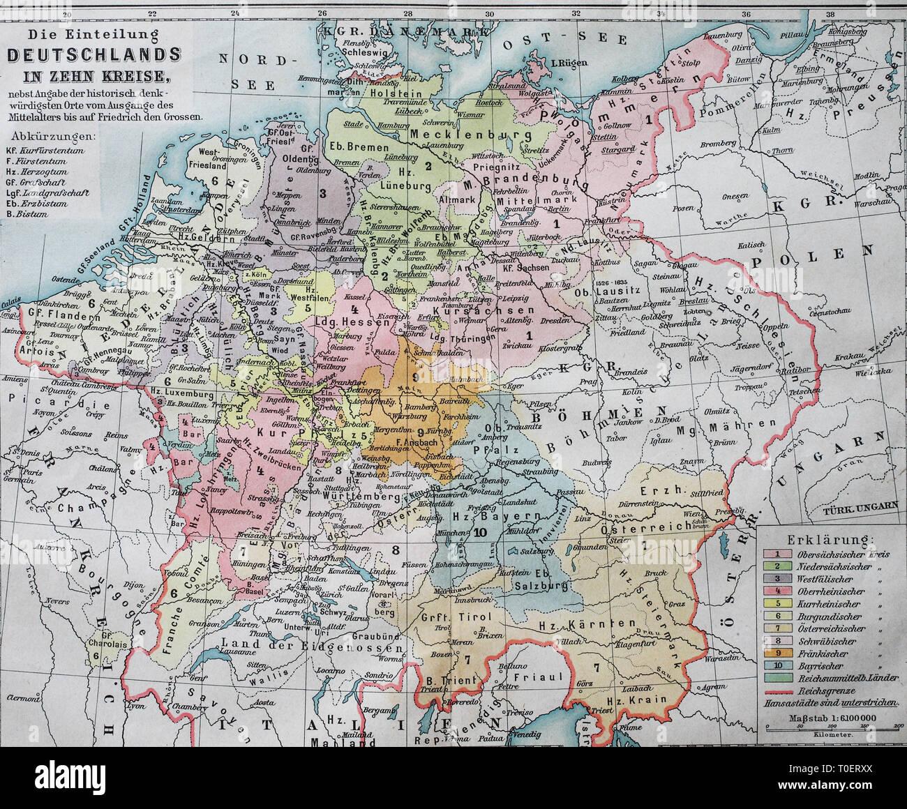 Land Karte Deutschland.Historische Karte Deutschland Einteilung In Zehn Bezirke Im