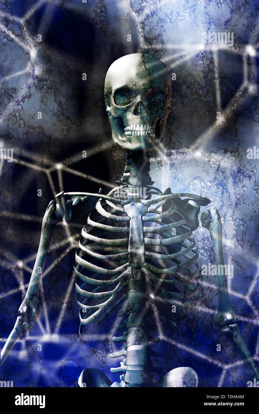 Menschliches Skelett und abstrakten Hintergrund Stockbild