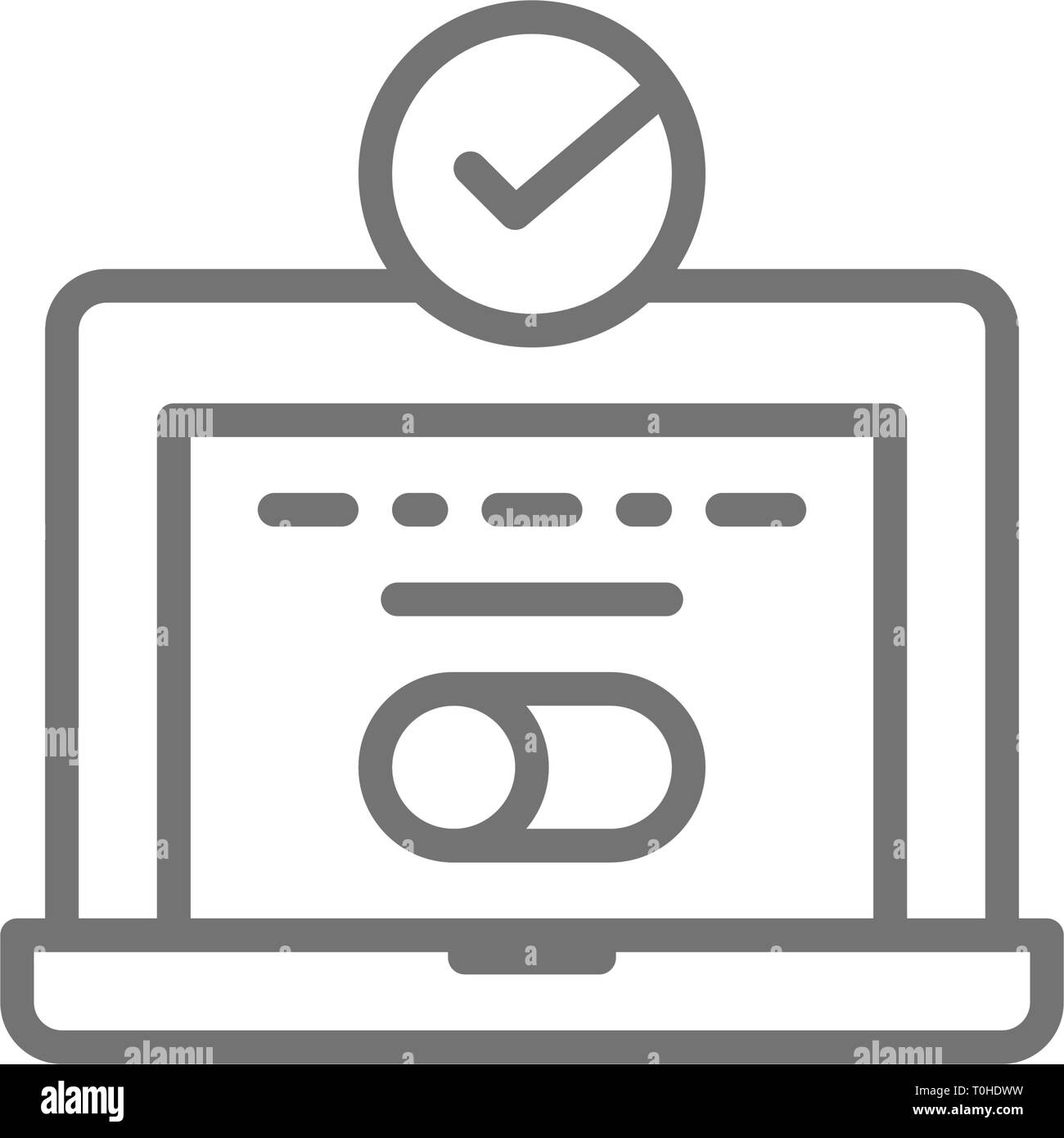 Anmeldung am System, Laptop mit Haken, computer Passwort Überprüfung, benutzerberechtigung Symbol Leitung. Stock Vektor