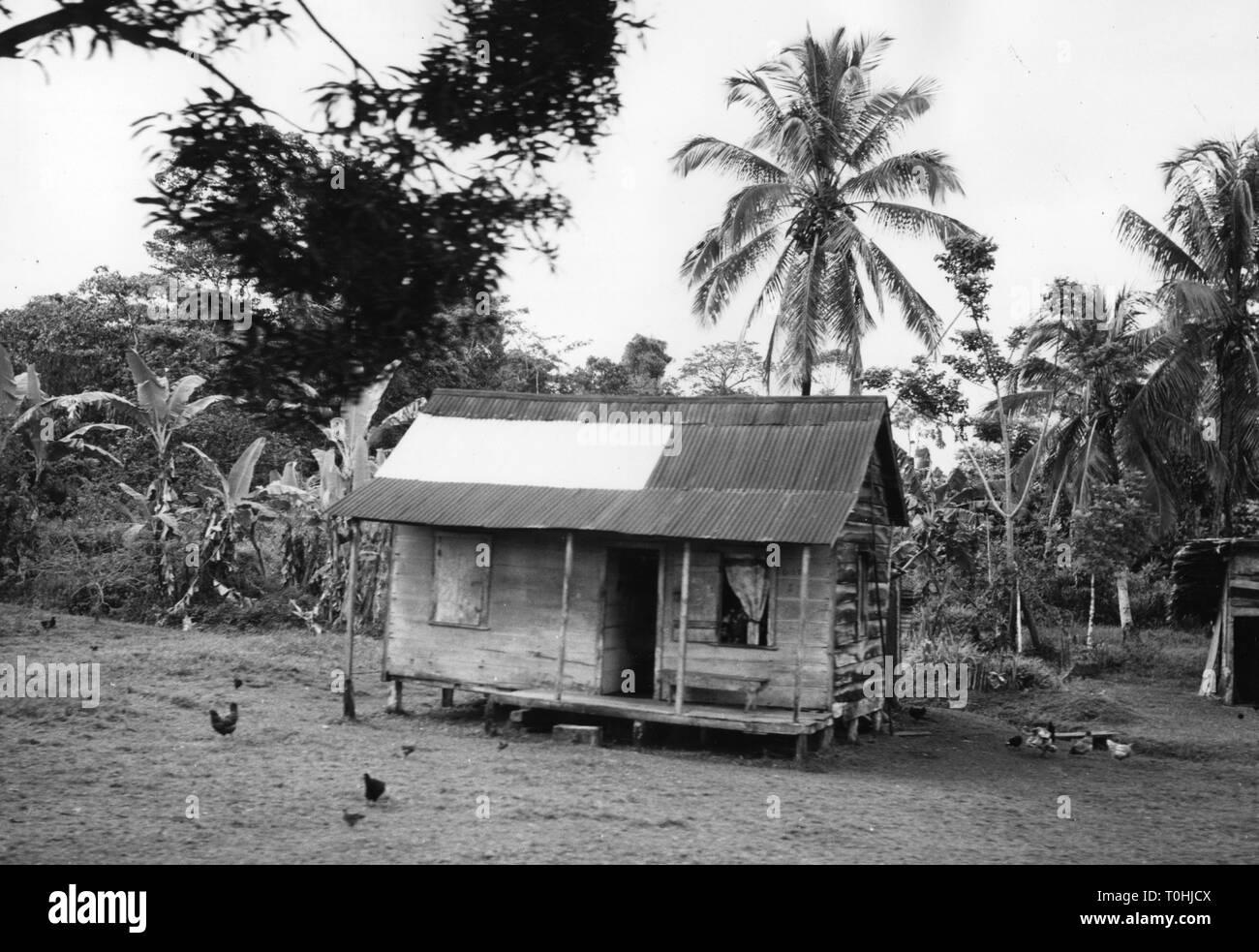 Geographie/Reisen, Costa Rica, Landwirtschaft, Bananenplantagen, Hütte, 1950er Jahre, Additional-Rights - Clearance-Info - Not-Available Stockbild