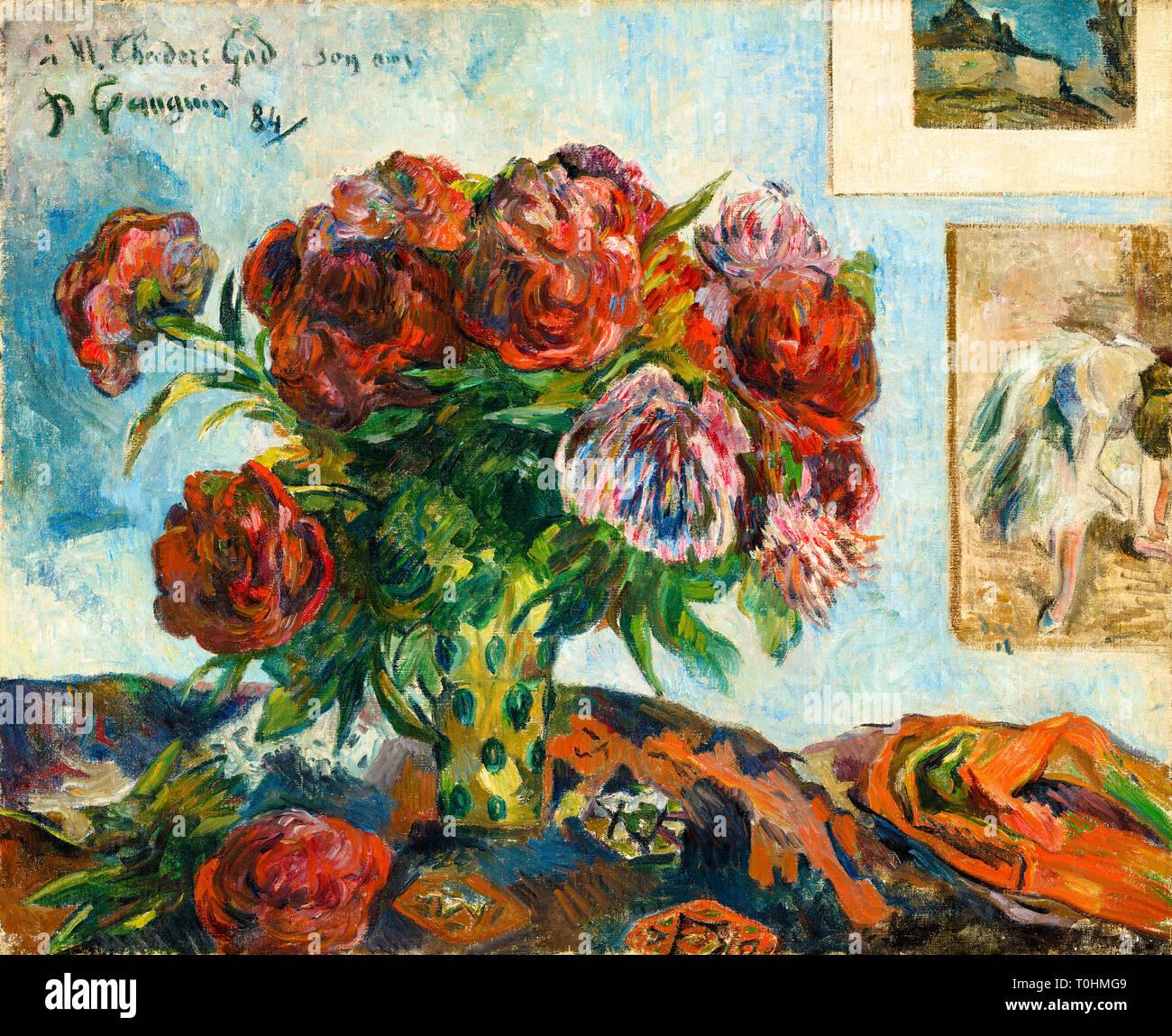Paul Gauguin, Stillleben mit Pfingstrosen, Malerei, 1884. Stockbild