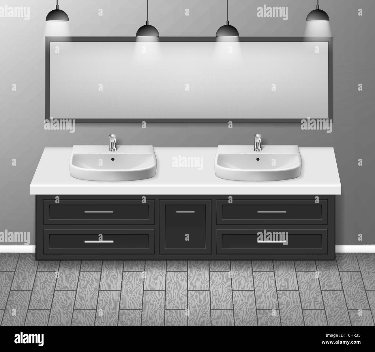 Moderne realistische Badezimmer Innenarchitektur. Möbel für ...