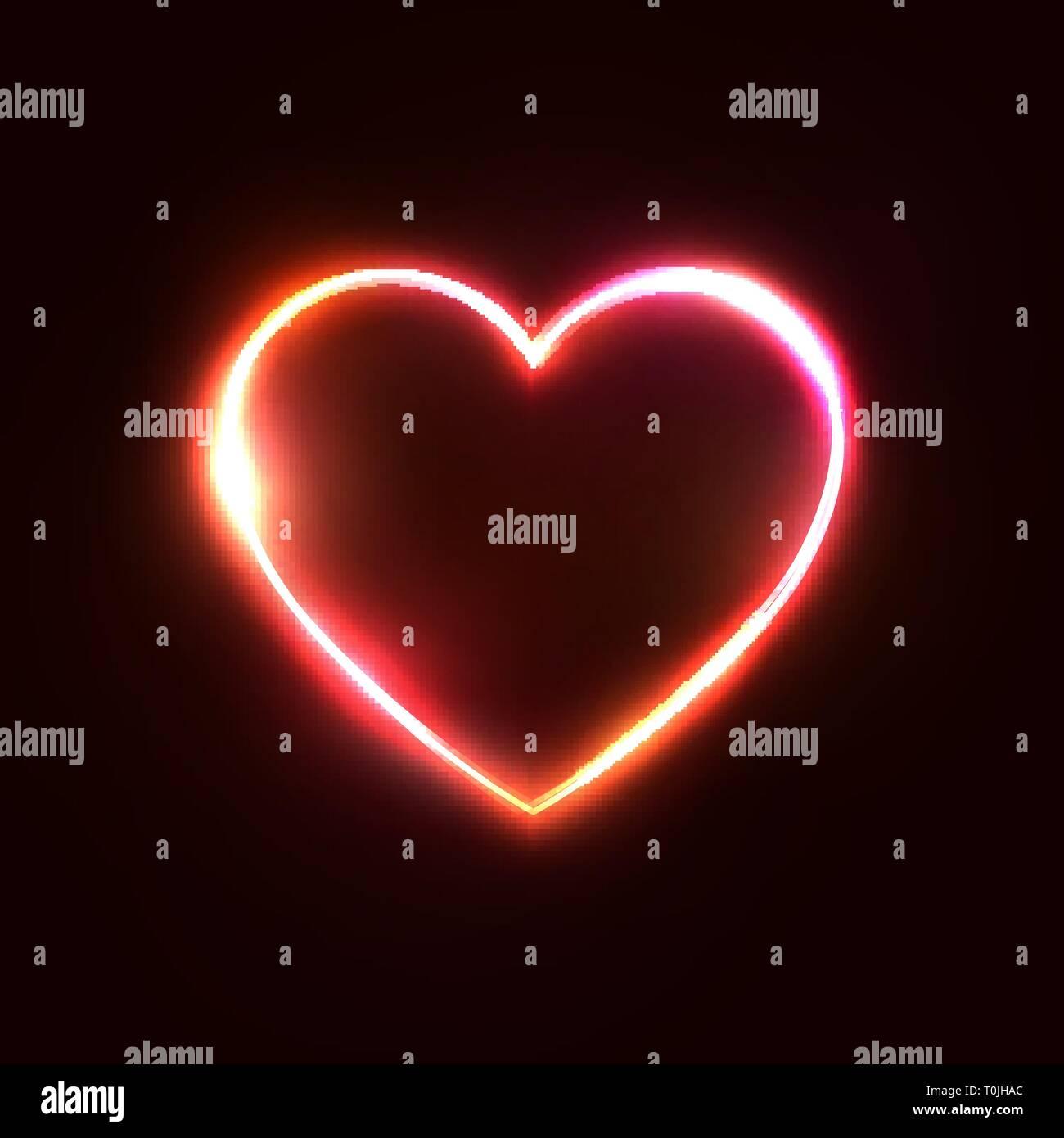 Rot Neon Herz Hintergrund. 3d-realistischem Design. Stockbild