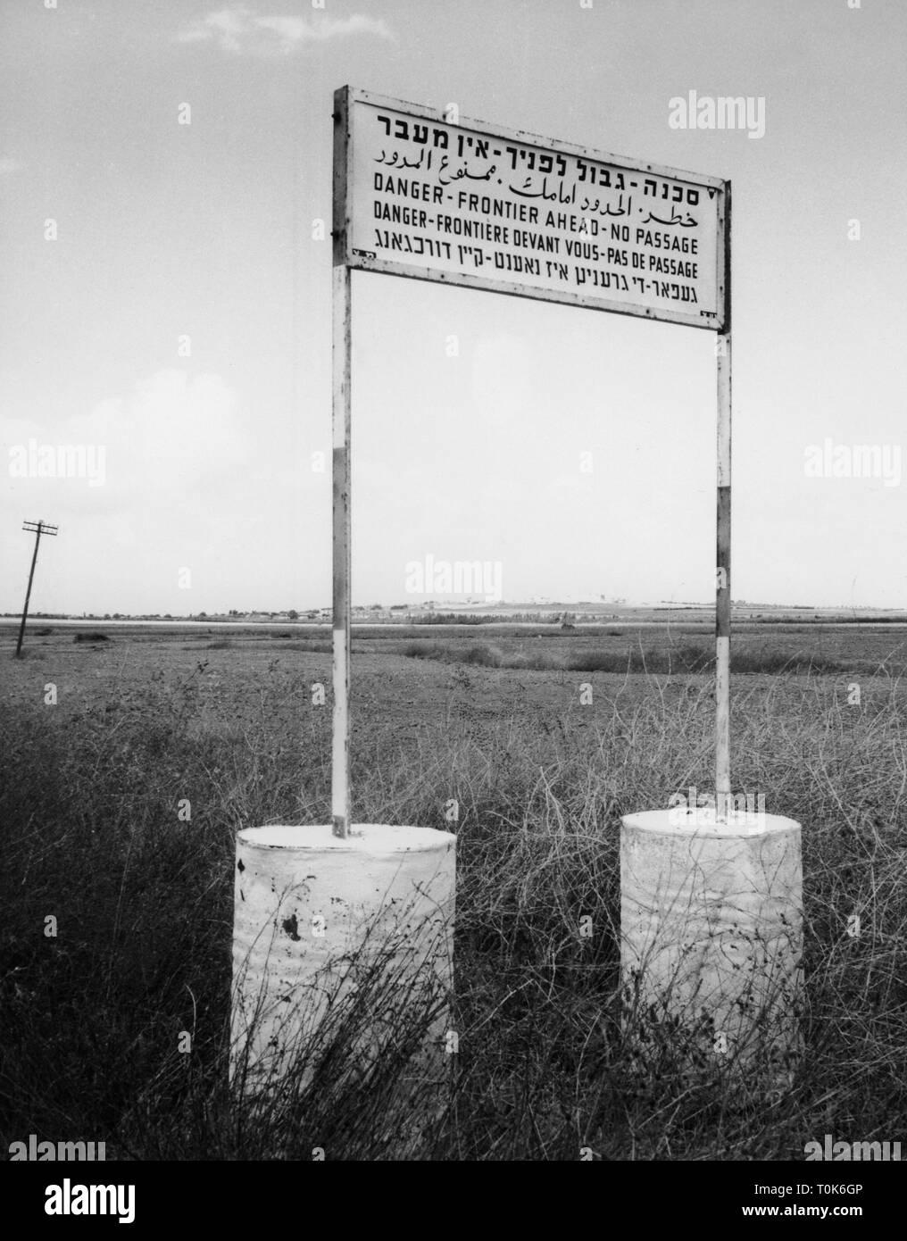 Geographie/Reisen, Palästina, Gazastreifen, Grenze, Zeichen, Juni 1962, Additional-Rights - Clearance-Info - Not-Available Stockbild