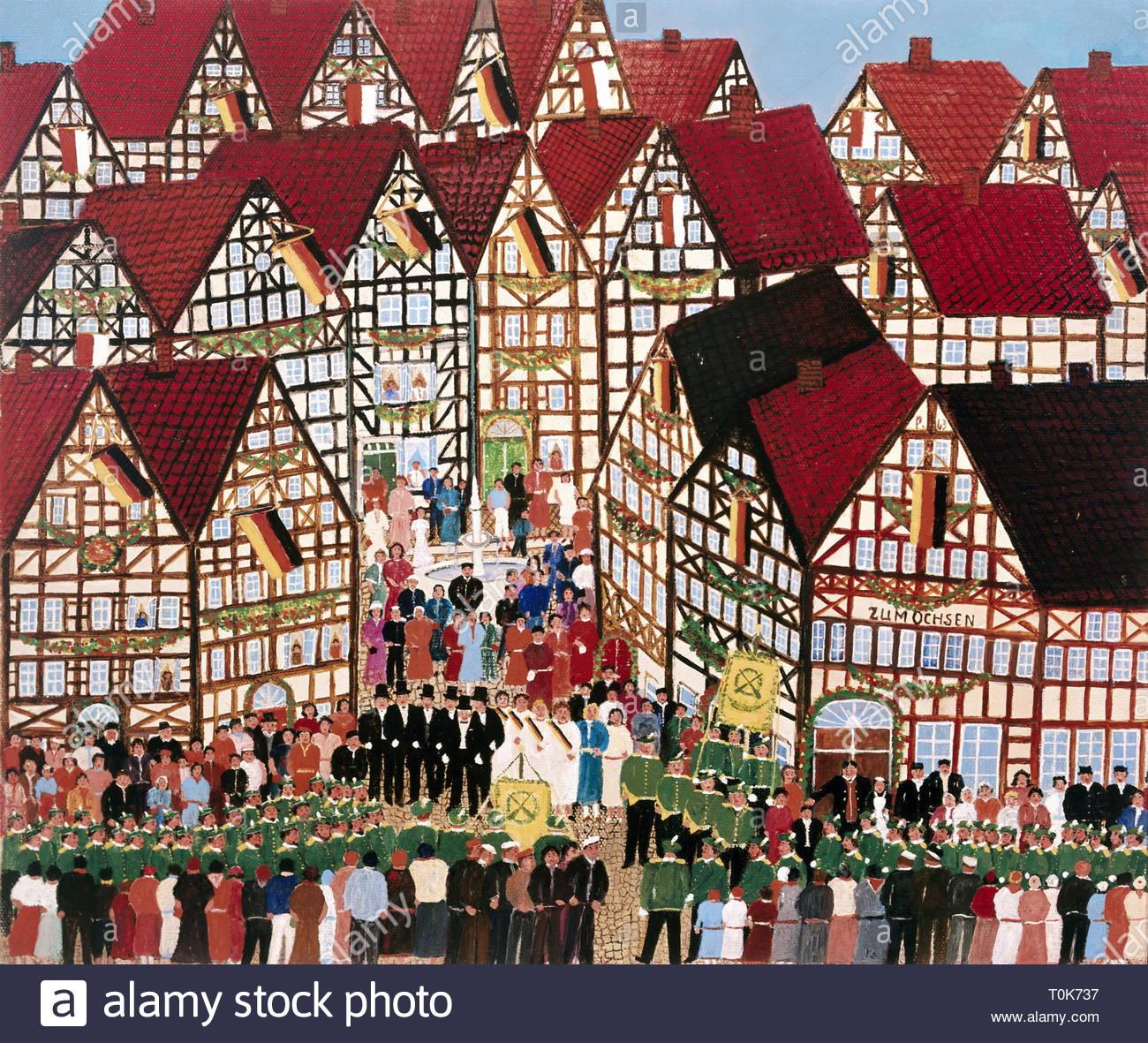 """Bildende Kunst, Paps (Waldemar Rusche, 1882 - 1965), der Malerei, der chuetzenfest in Hessen"""", Öl auf Leinwand, 1963, Privatsammlung, Artist's Urheberrecht muss auch gelöscht werden. Stockbild"""