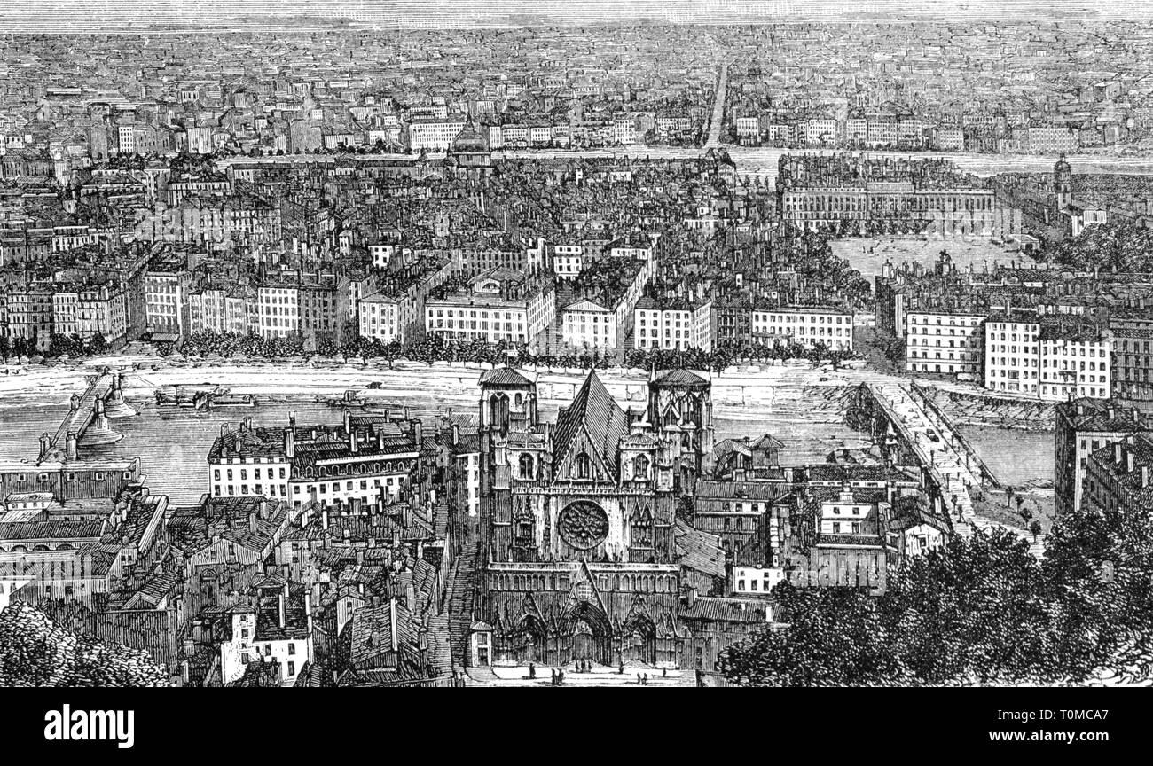 Geographie/reisen, Frankreich, Lyon, Aussicht, Holzstich, 1893, Artist's Urheberrecht nicht geklärt zu werden. Stockbild