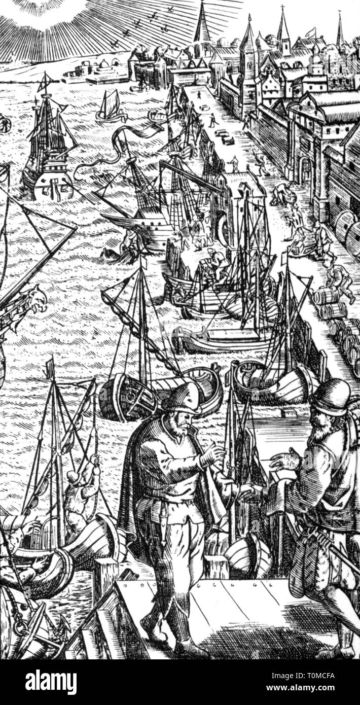 Geographie/Reisen, Portugal, Lisboa, Hafen, Holzschnitt, 1545 Additional-Rights - Clearance-Info - Not-Available Stockbild