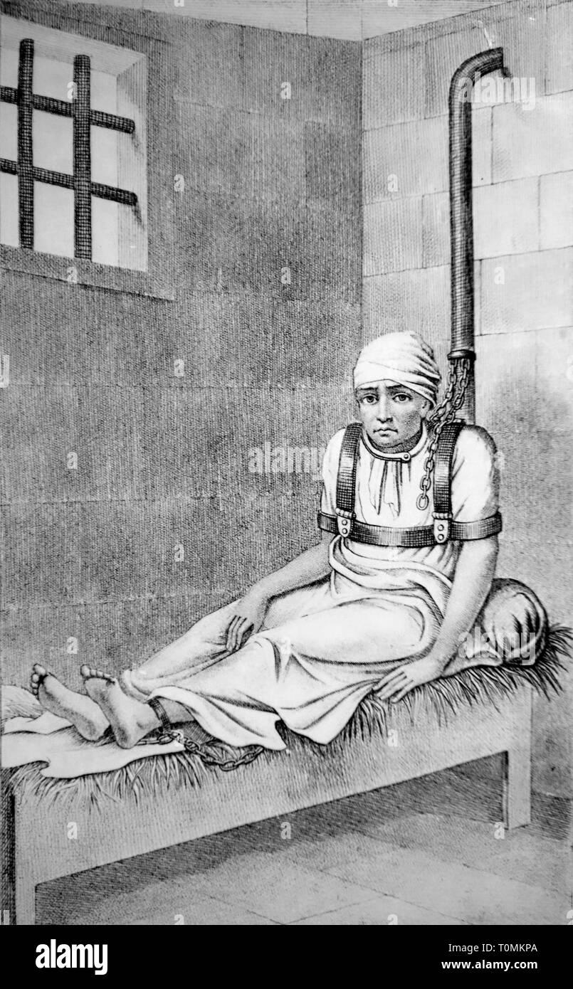 Ätzen von zurückhaltenden psychisch kranke Menschen gefesselt auf dem Bett tragen Schultergurt und angekettet an Wand im 19. Jahrhundert bedlam/Irrenanstalt/Madhouse Stockbild
