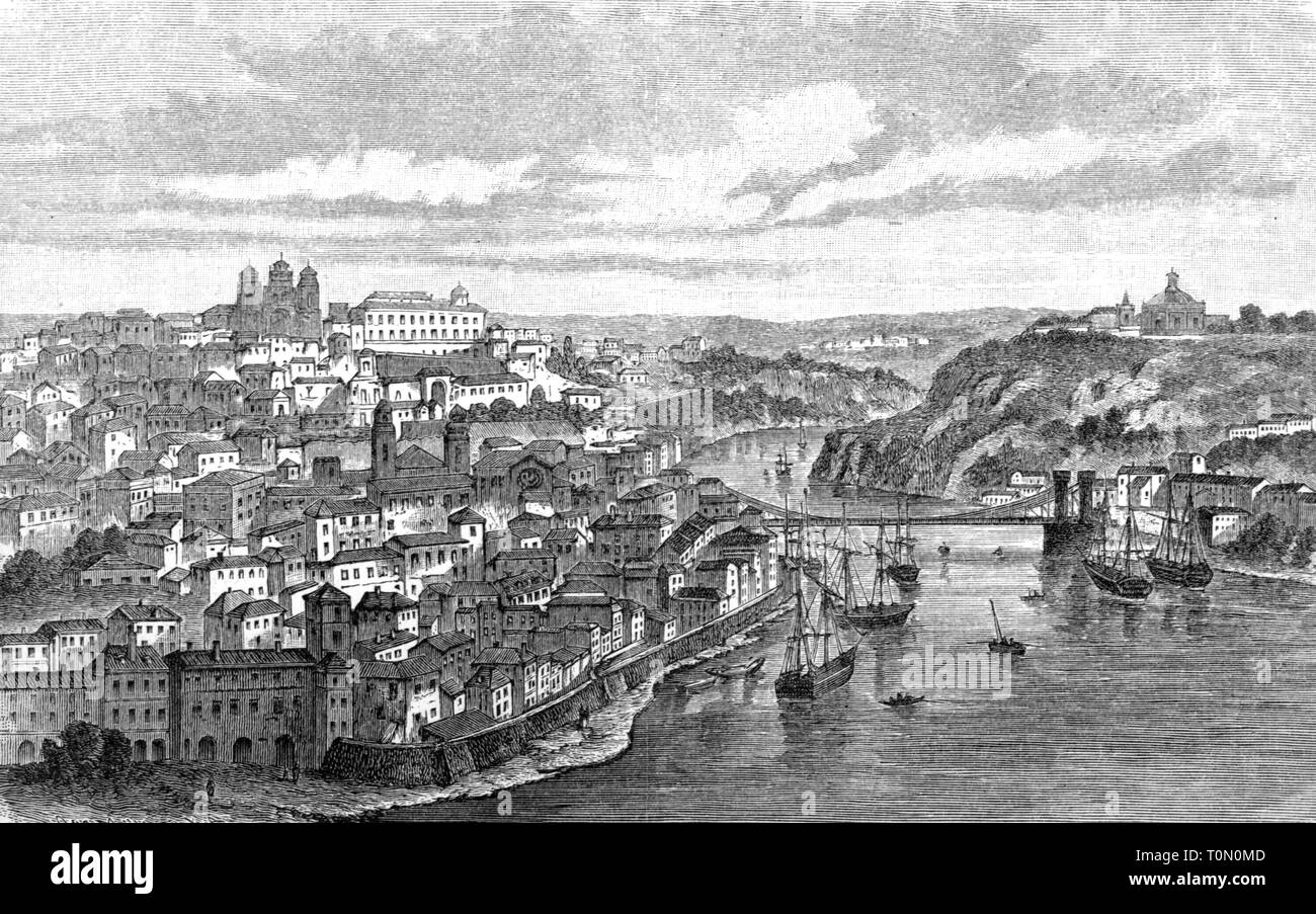 Geographie/Reisen, Portugal, Porto, Aussicht, Holzstich, 1893, Additional-Rights - Clearance-Info - Not-Available Stockbild