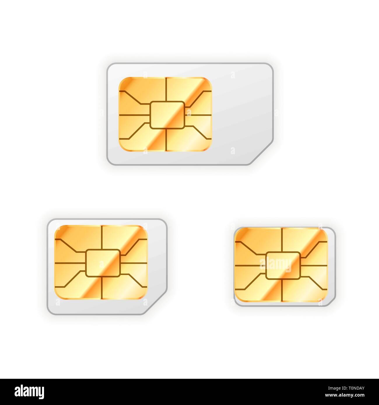 Nano Sim Karte Bilder.Satz Von Leer Standard Mikro Und Nano Sim Karte Für Handy Mit