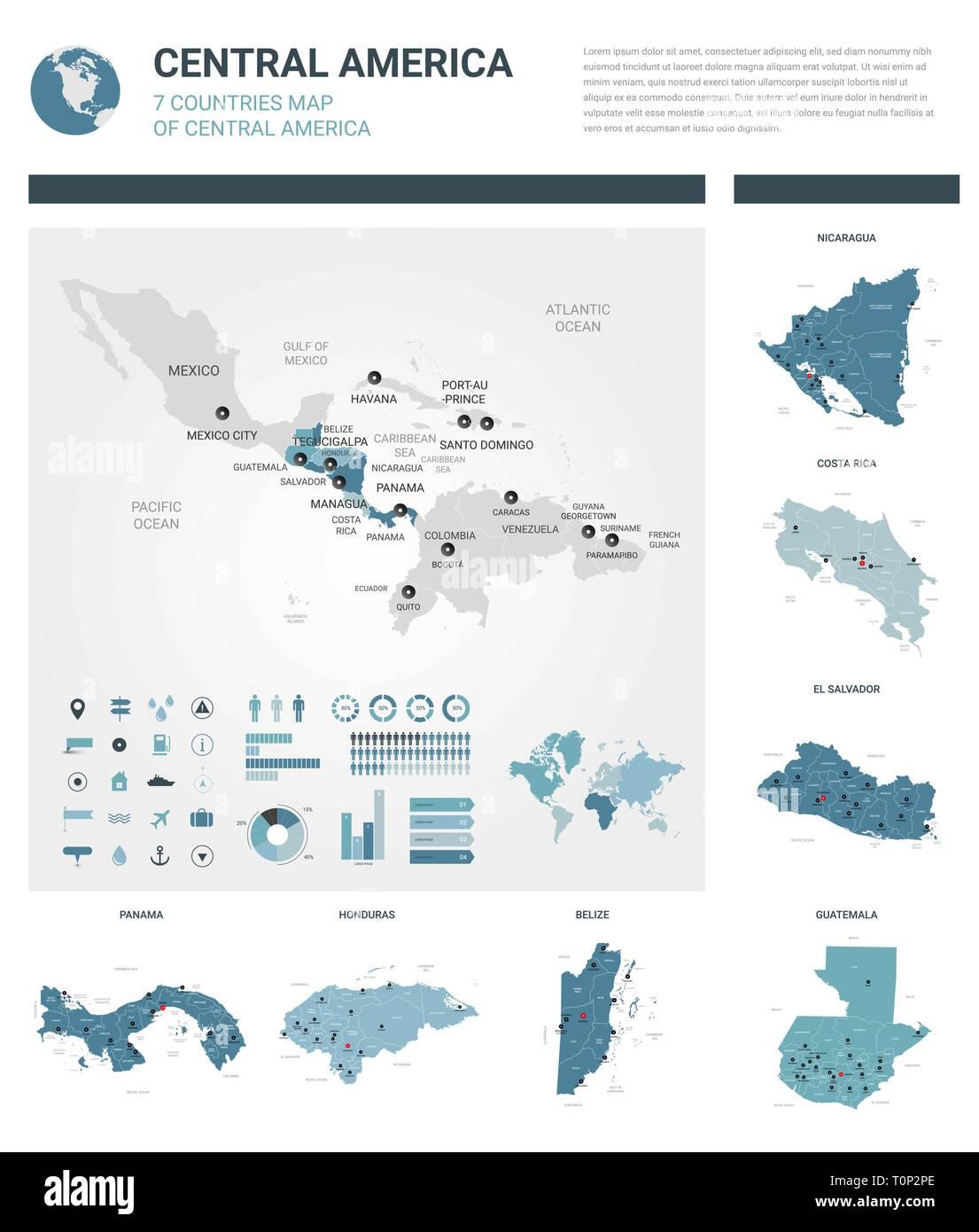 Mittelamerika Karte Staaten.Vektor Karten Festlegen High Ausführliche 7 Karten Der Länder In