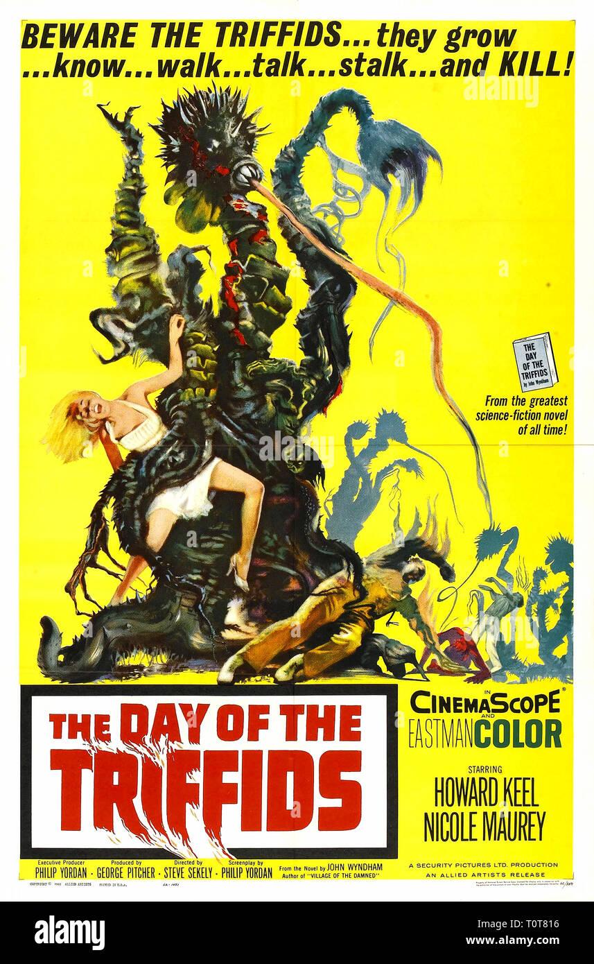 Der Tag der Triffids. Poster für den Film Der Tag der Triffids (1962). Der Tag der Triffids, British Science Fiction Film Poster Stockbild