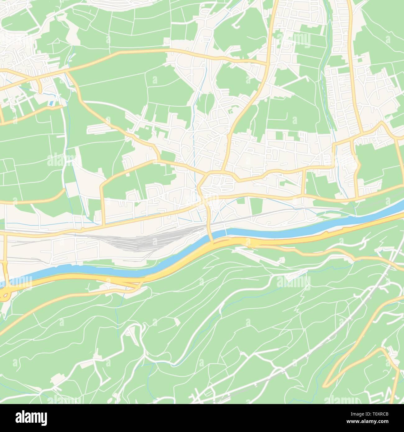 Karte Tirol.Druckbare Karte Von Hall In Tirol österreich Mit Haupt Und