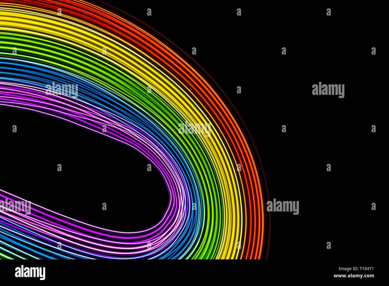 Mehrfarbige Leds auf schwarzen Hintergrund. Regenbogen Farben Kurven. Platz zu schreiben. Gay LGBT-Symbol Stockfoto