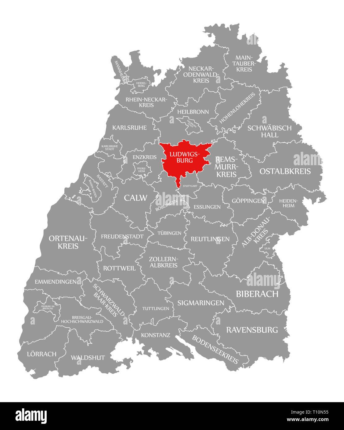 Kreis Ludwigsburg In Rot Hervorgehoben Karte Von Baden Wurttemberg