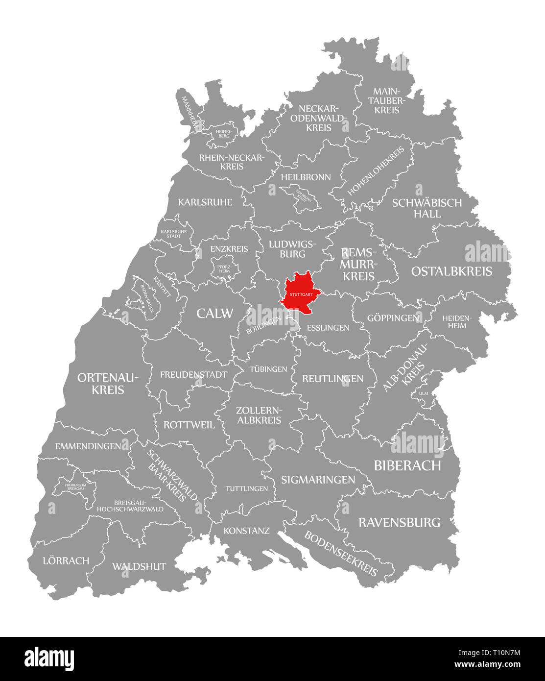 Stuttgart County In Rot Hervorgehoben Karte Von Baden Wurttemberg