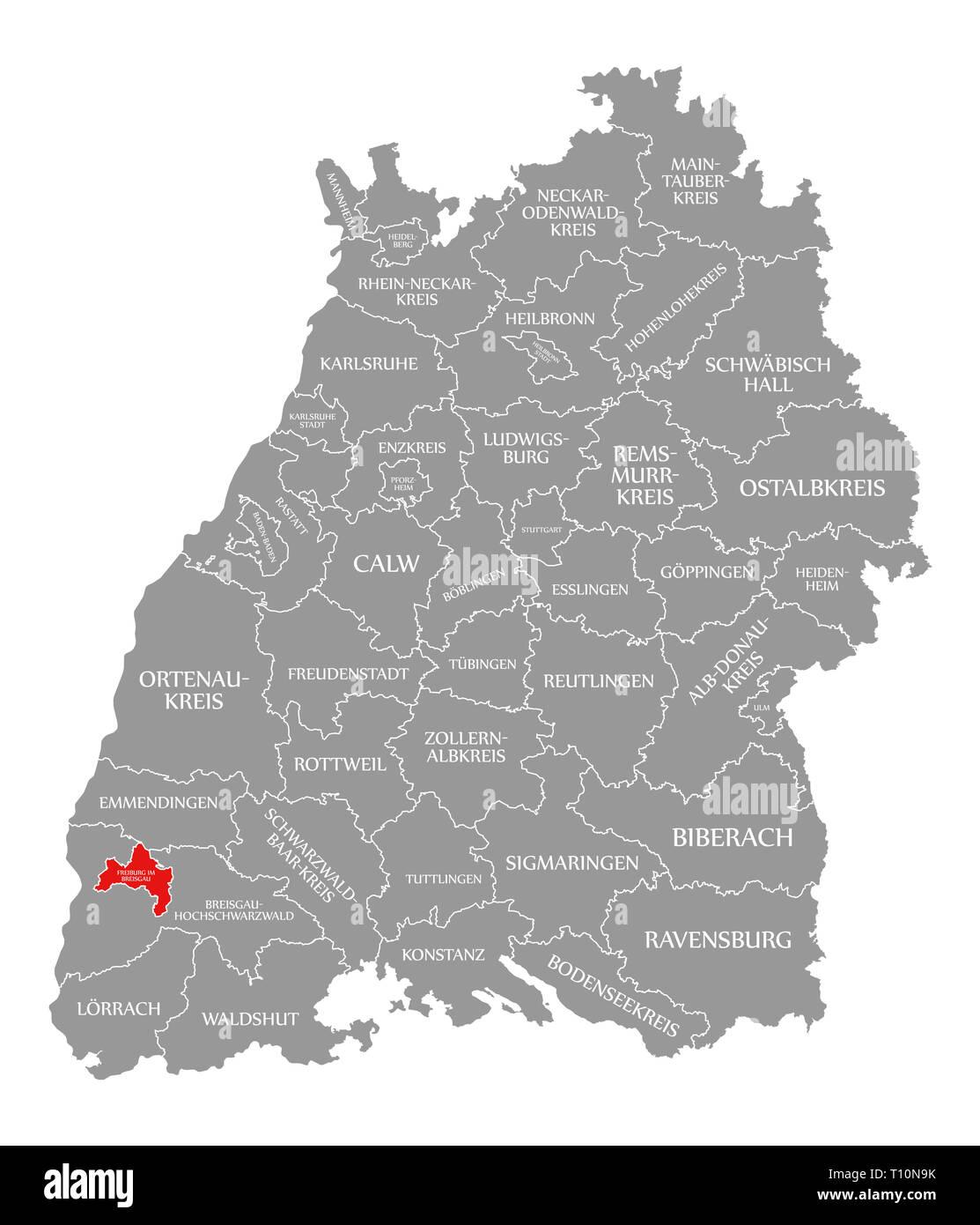 Freiburg Karte.Freiburg Im Breisgau County In Rot Hervorgehoben Karte Von