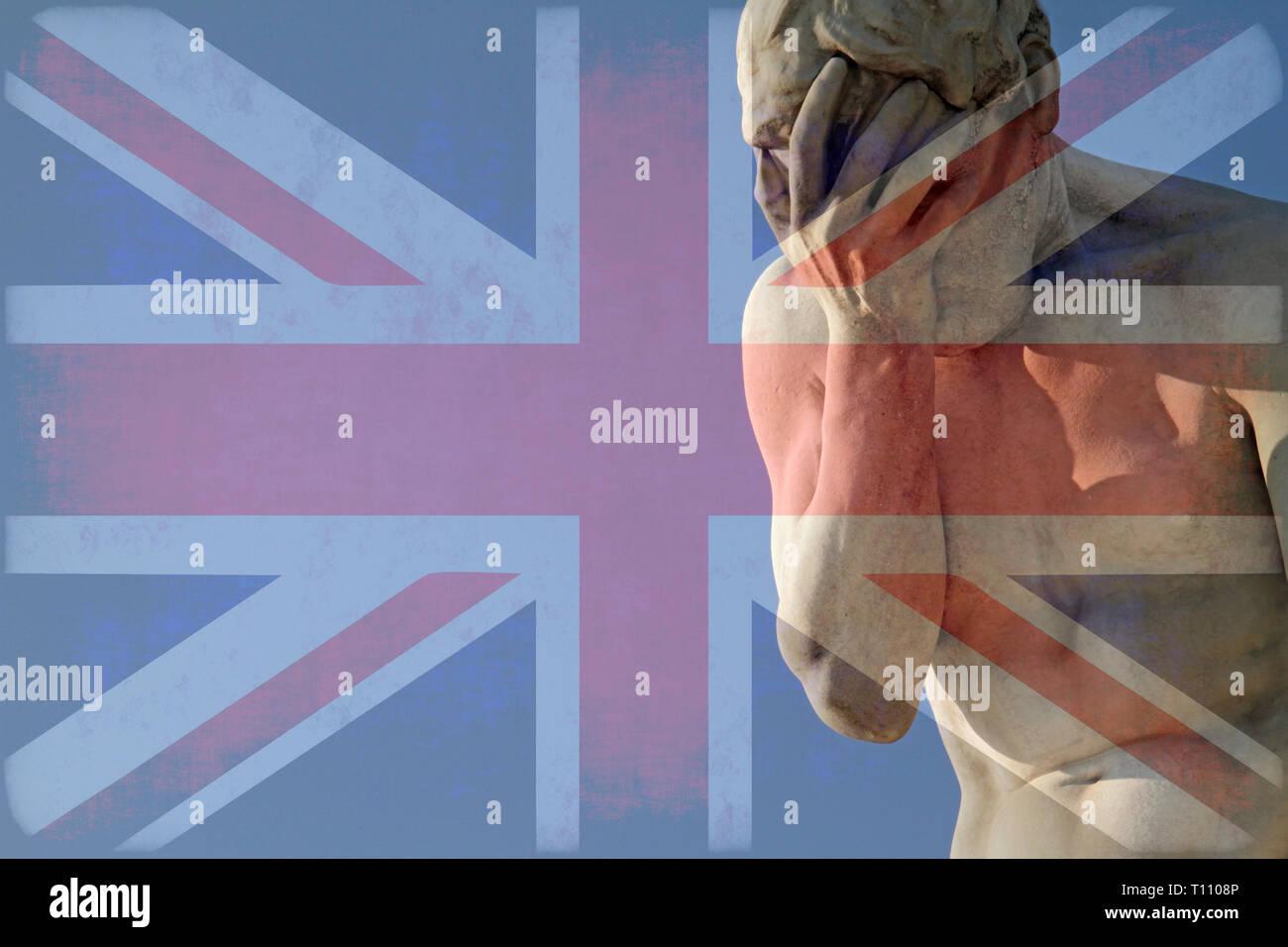 Facepalm und Brexit - Union Jack über eine Statue mit seinen Kopf in seine Hände Stockbild
