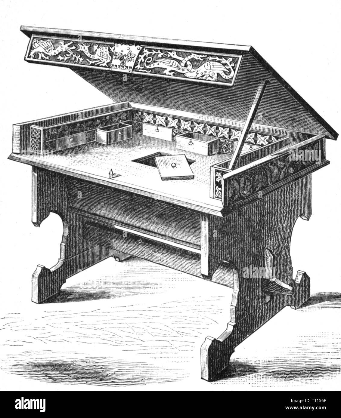 Unterkunft, Möbel, Schreibtisch aus dem 15. Jahrhundert