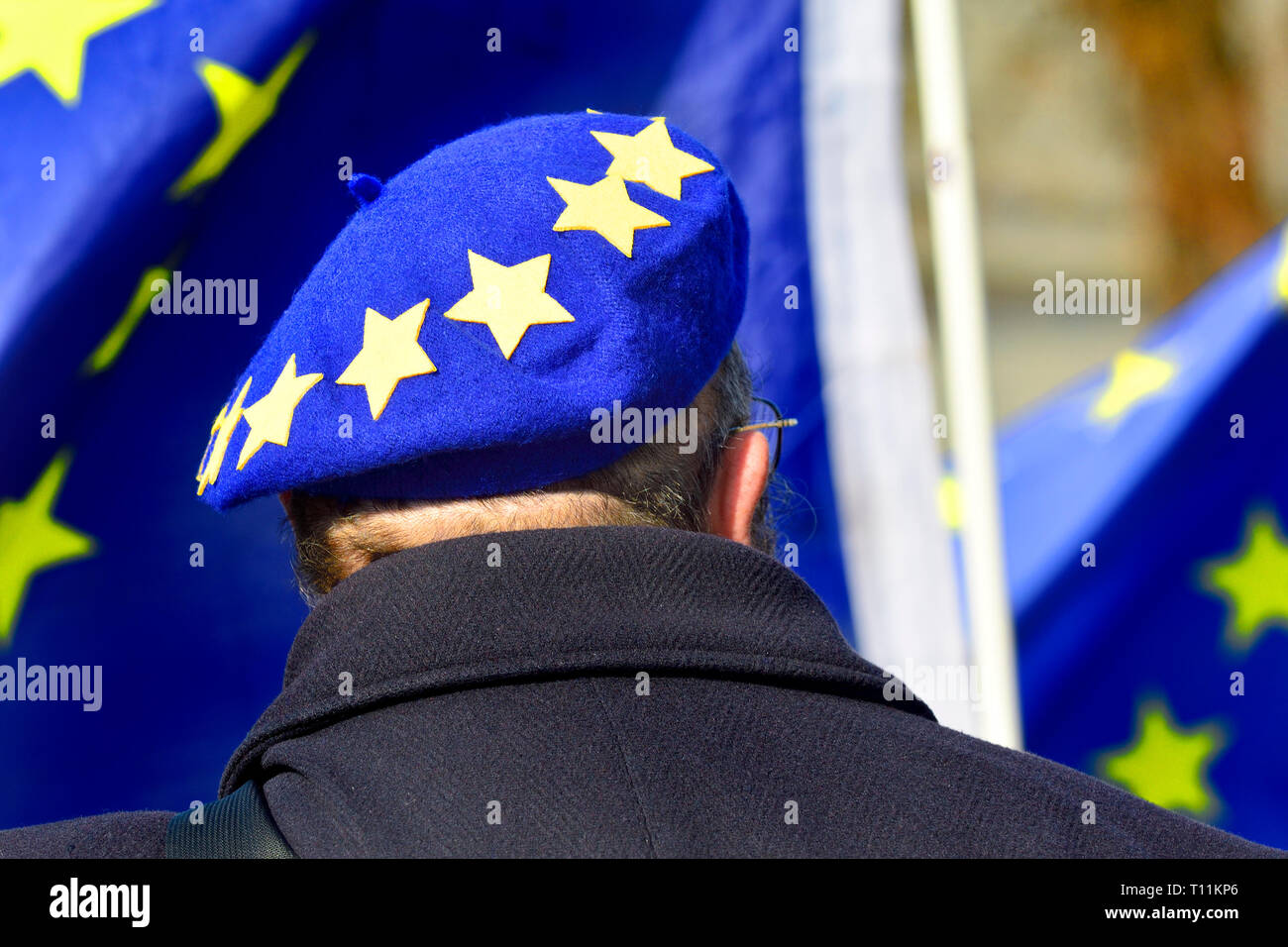 London, England, UK. Pro-EU-demonstrant in Westminster, März 2019 Stockbild