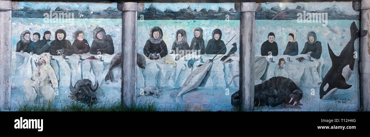 Die Inuit Wandbild, Narsarsuaq, Grönland Stockbild