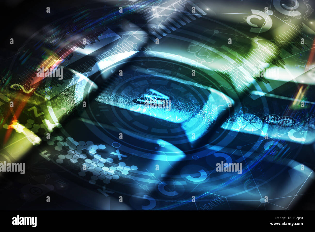 Close-up Dunkel, Tastatur mit Cyber Security Konzept Stockfoto