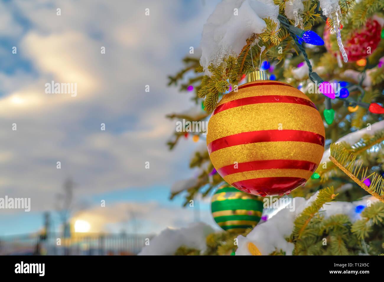Weihnachtsbeleuchtung Kugel Aussen.Baum Mit Kugeln Und Weihnachtsbeleuchtung Dekoriert Stockfoto Bild